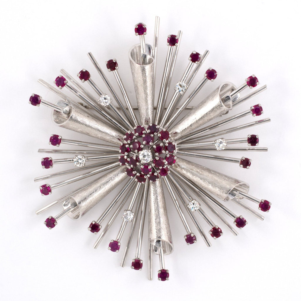Florentine Ruby & Diamond Spray Pin