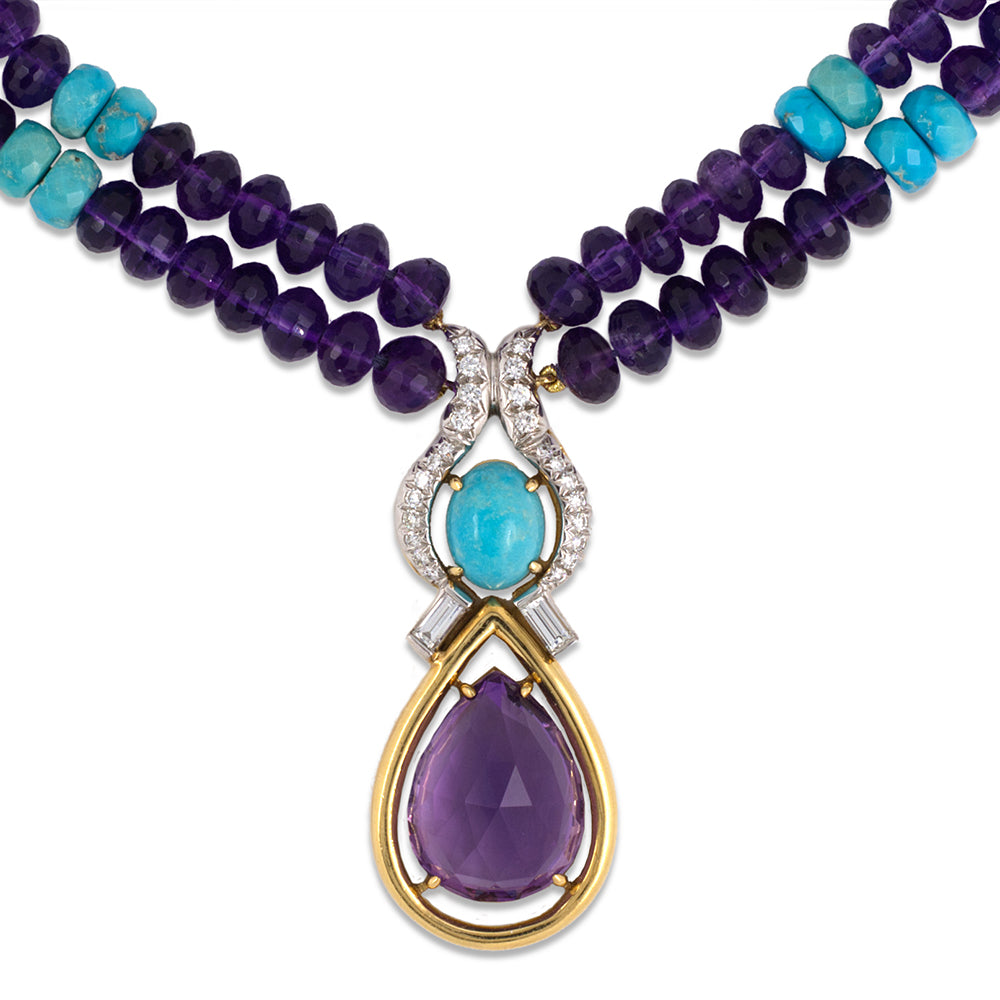 Amethyst & Turquoise Rondelle Necklace