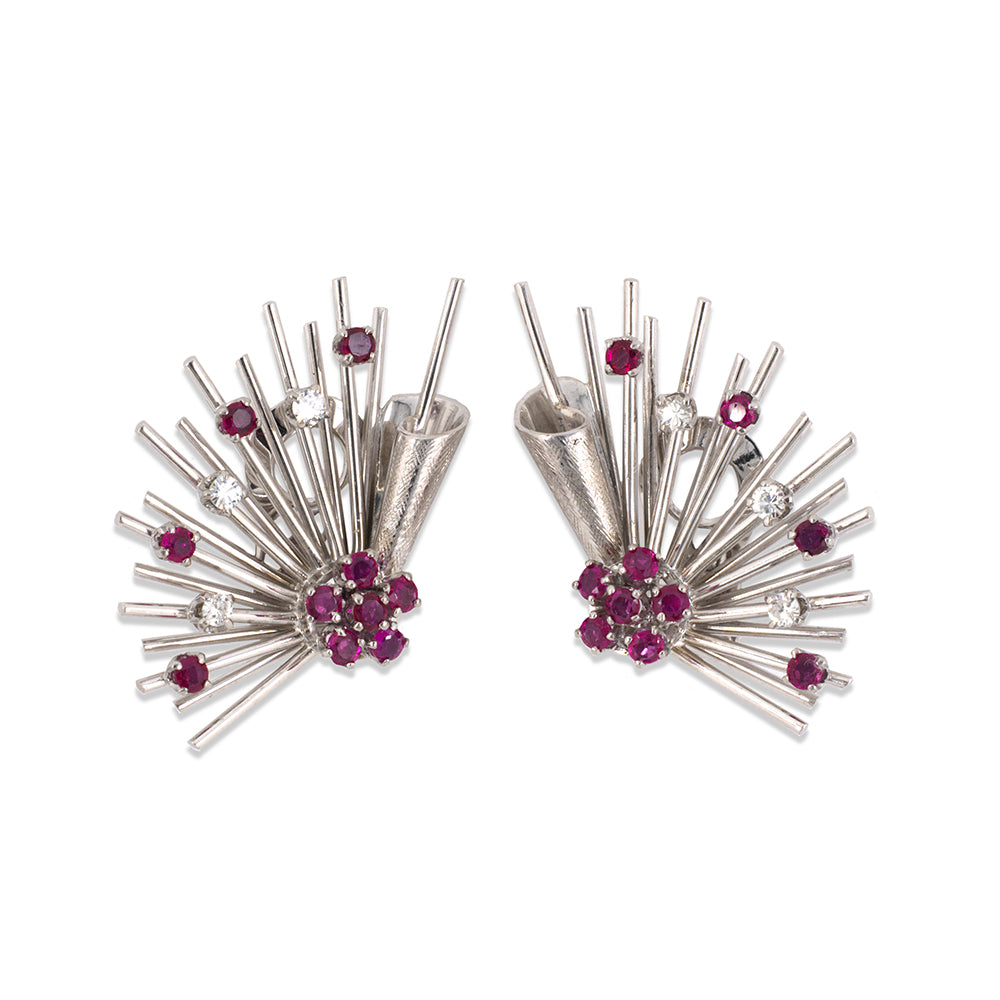 Florentine Ruby & Diamond Spray Earrings