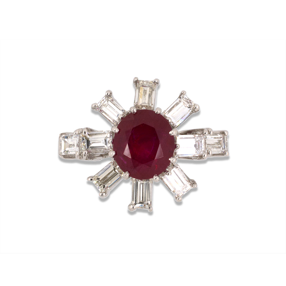 Ruby & Diamond Spoke Ring