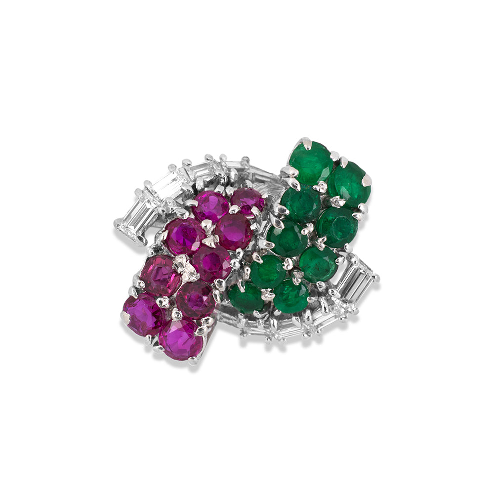 Ruby, Emerald & Diamond Swirl Ring