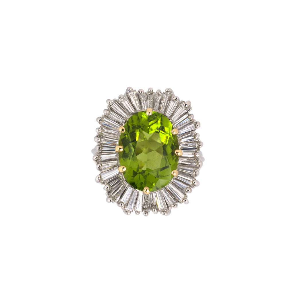 Peridot & Diamond Ballerina Cluster Ring