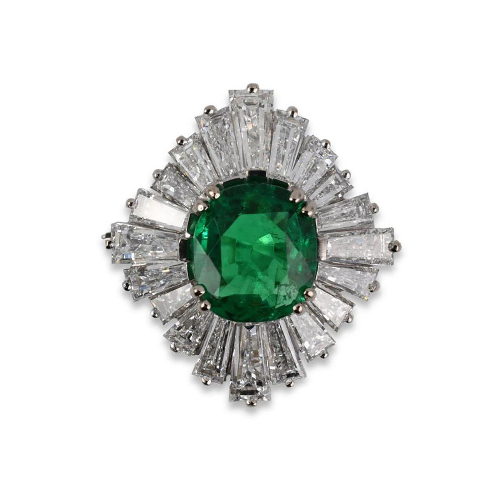 Emerald & Diamond Gubelin Ballerina Ring