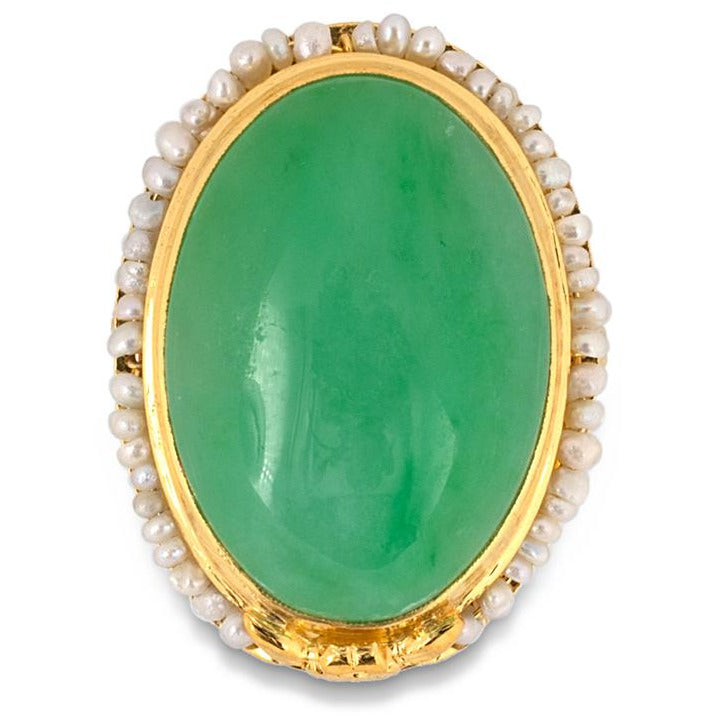 Oval Jadeite with Pearl Ring