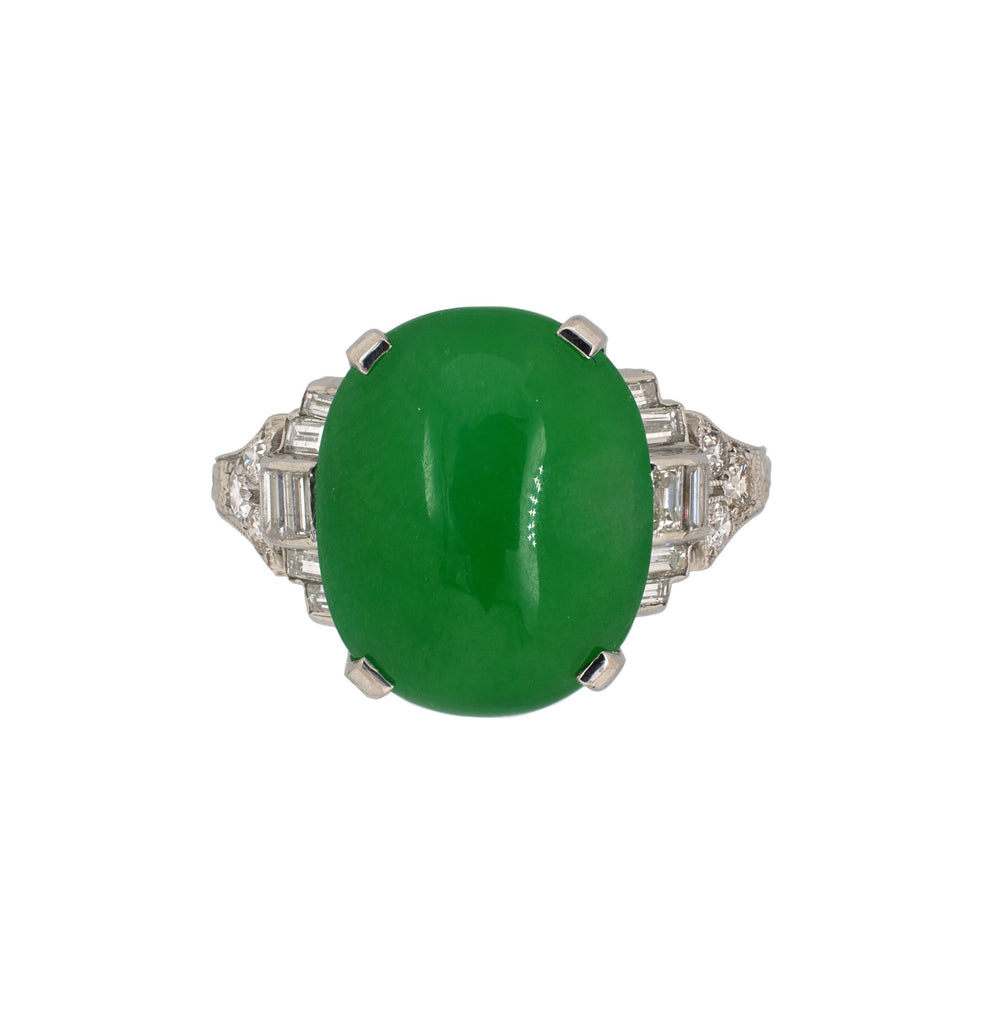 Art Deco Oval Jadeite & Diamond Ring