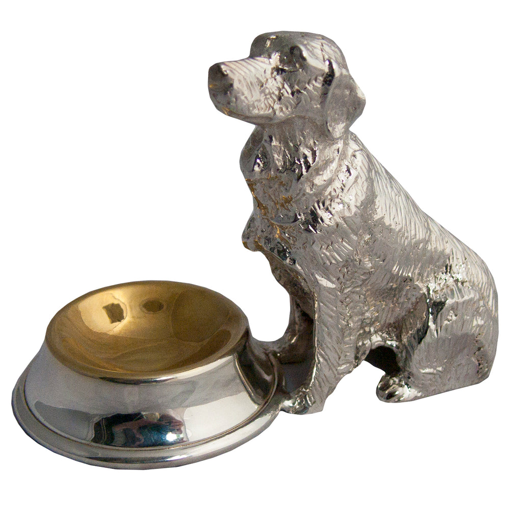 Silverplated Sitting Dog Salt Cup