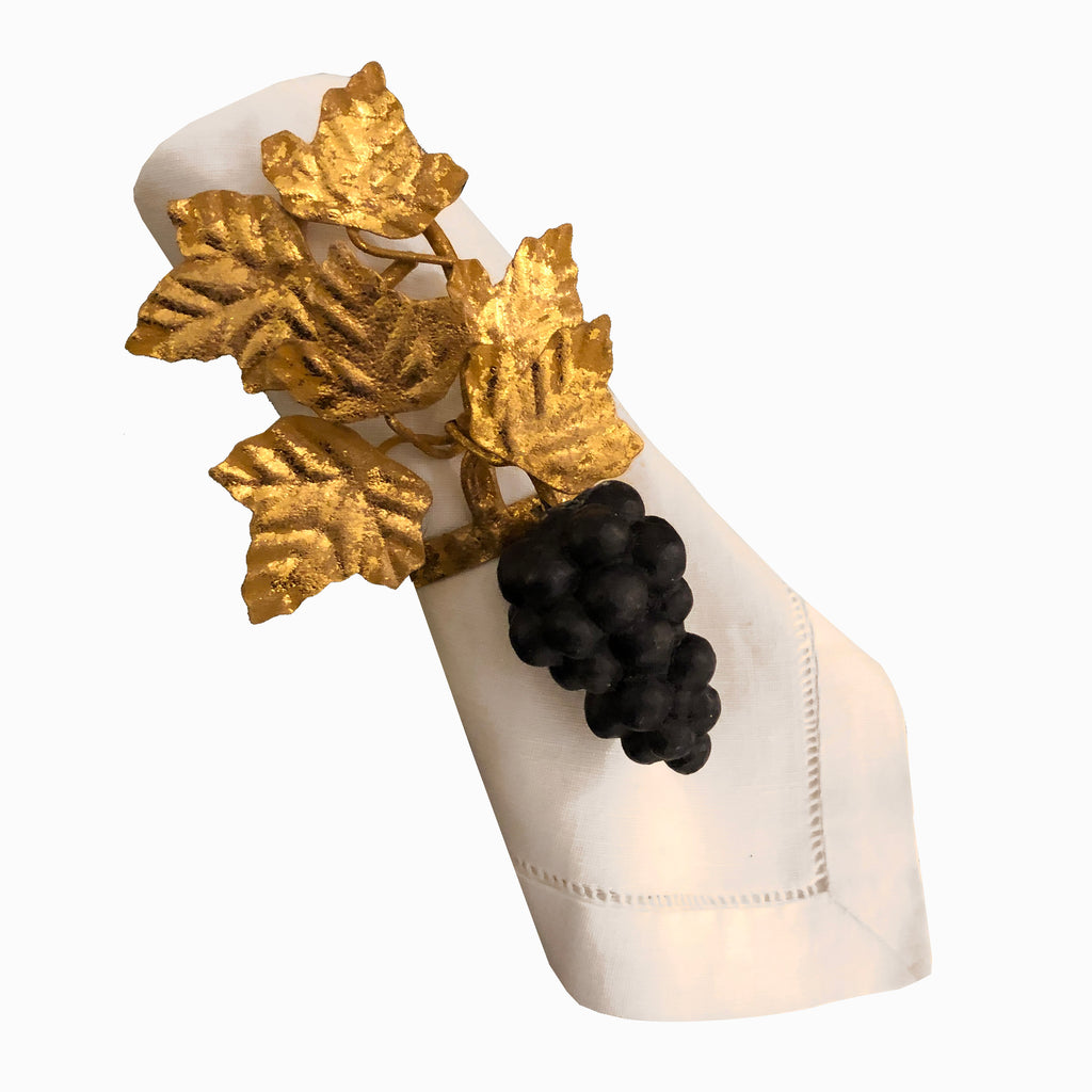 Gilded Black Grape Napkin Ring