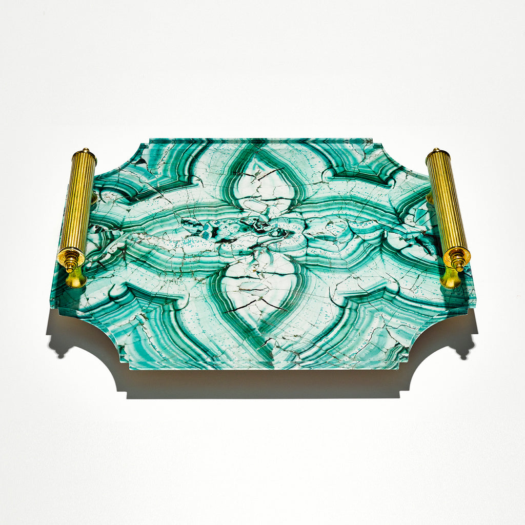 Acrylic Malachite Tray with Brass Handles, Small