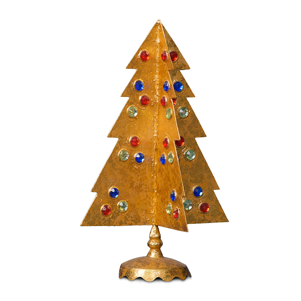Gilt Tree with Red, Blue & Green, Tall