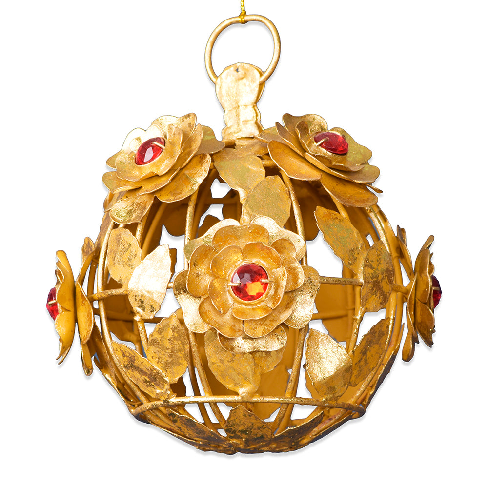 Gilt Rose Ball with Faux Rubies