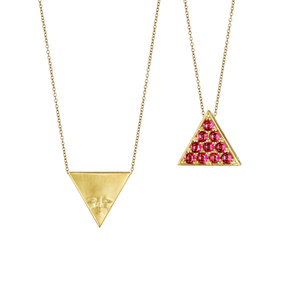 Triangle Face Gemini Pendant Necklace