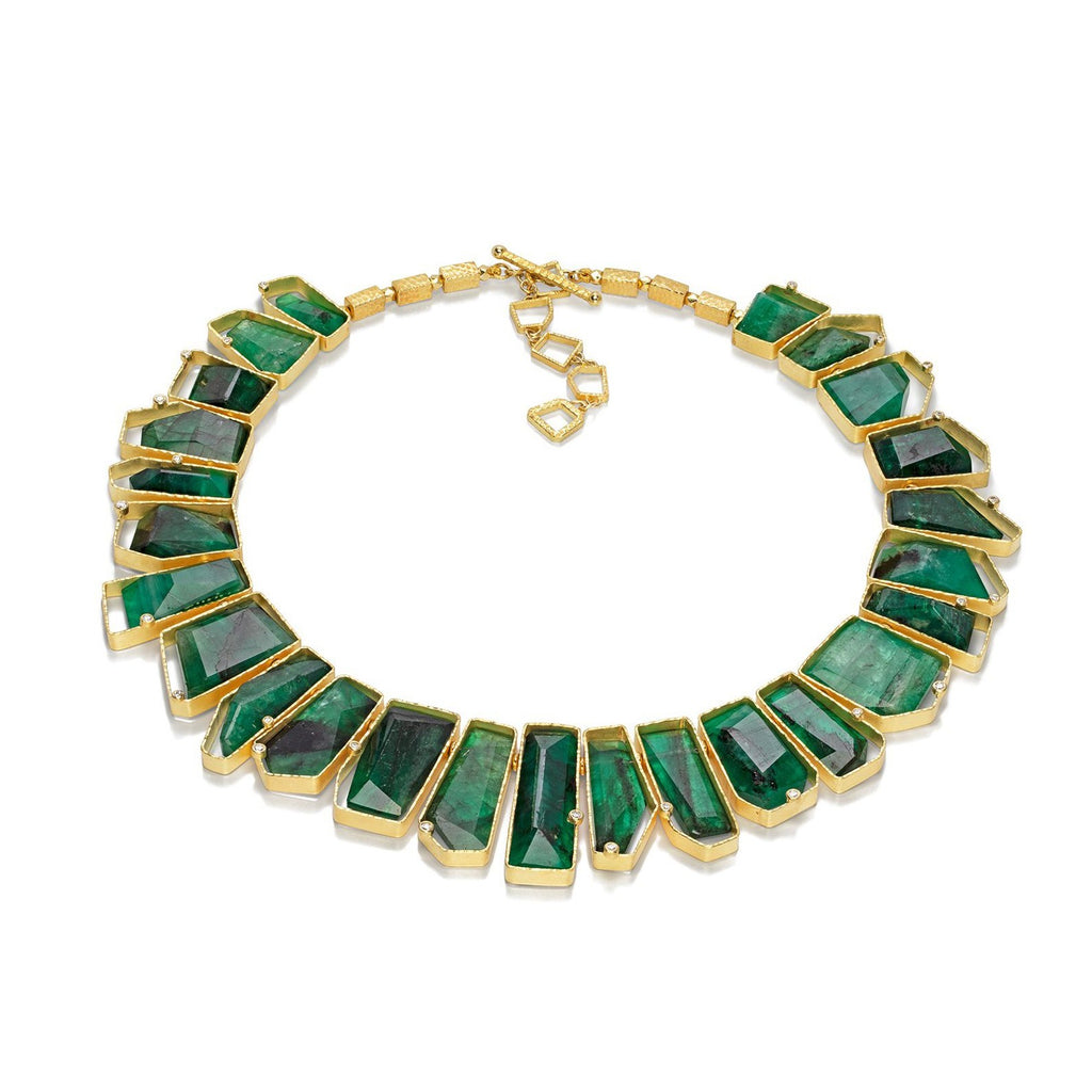 Asymetrical Emerald & Diamond Necklace