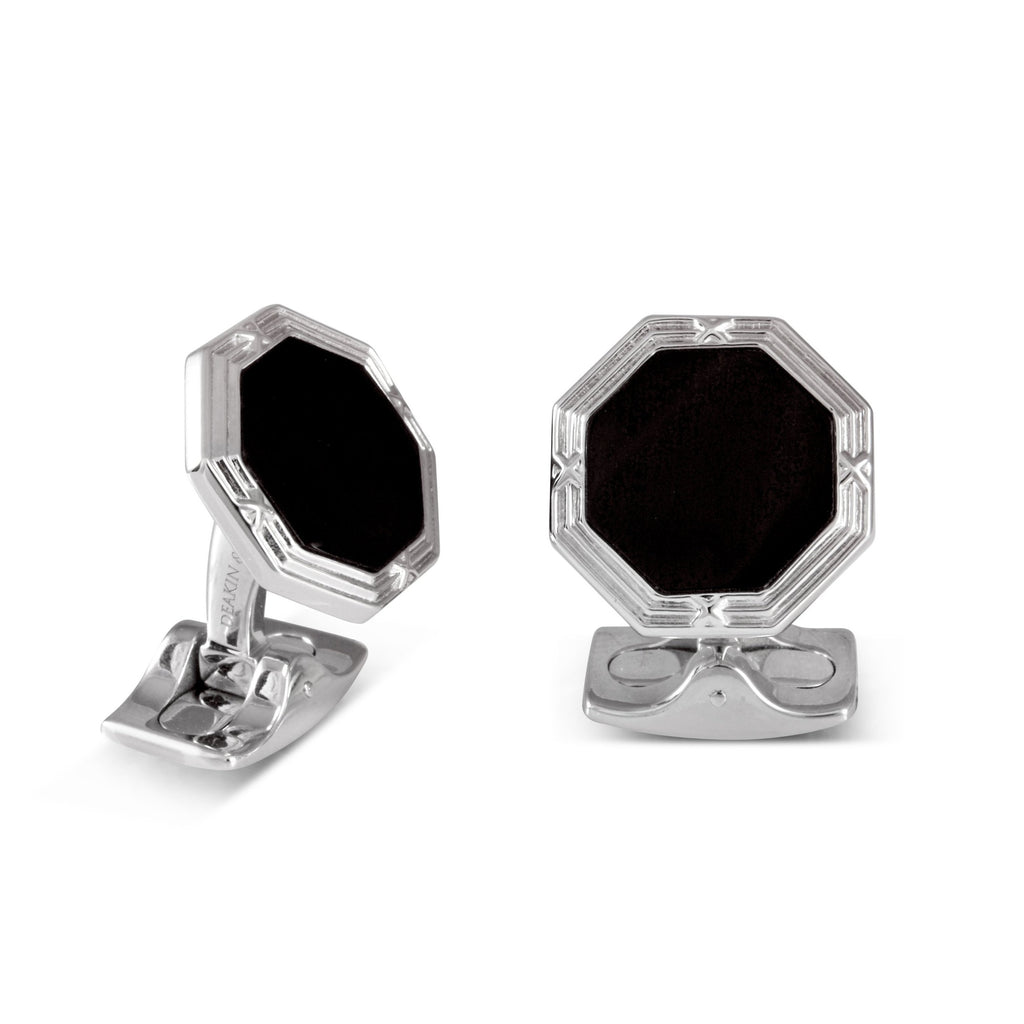 Sterling Silver Octagonal Cufflinks with Onyx