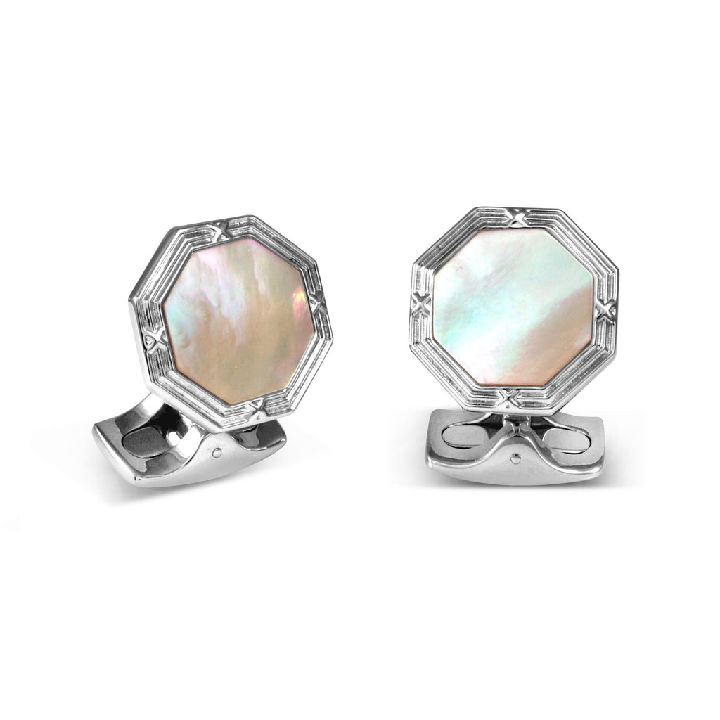 Sterling Silver Octagonal Cufflinks with Mother-of-Pearl