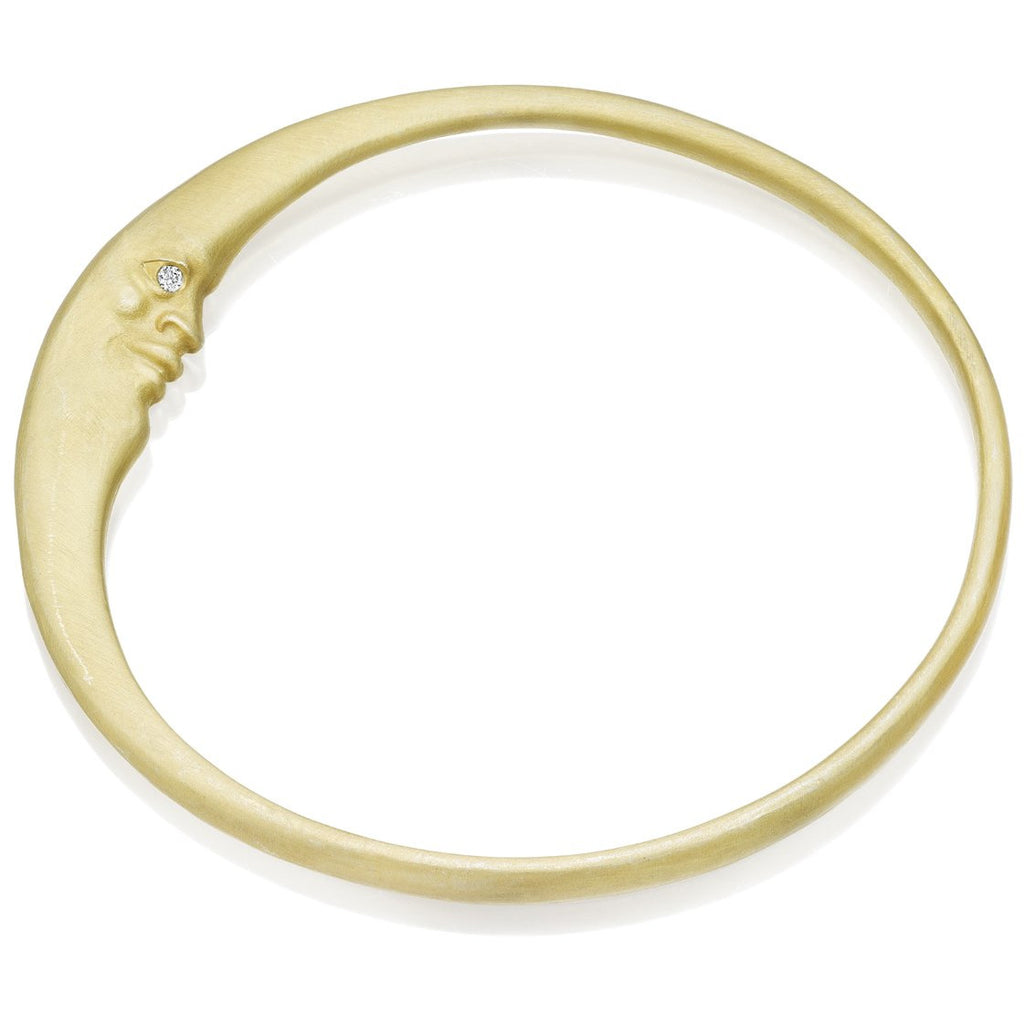 Crescent Moonface Gold Bangle