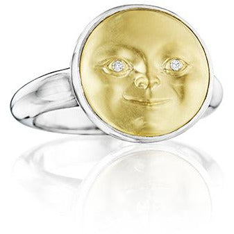 Silver & Gold Moonface Ring