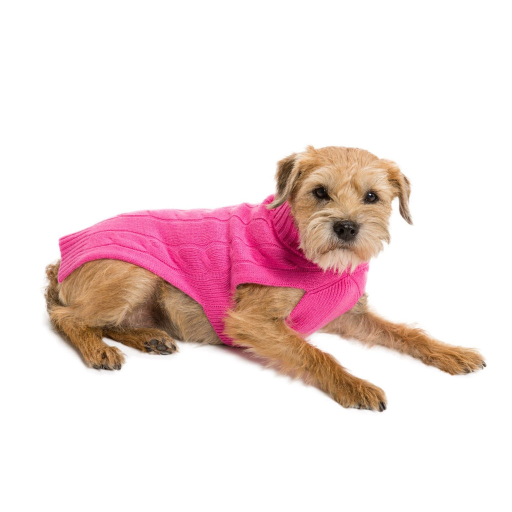 Cableknit Cashmere Dog Sweater, Hot Pink