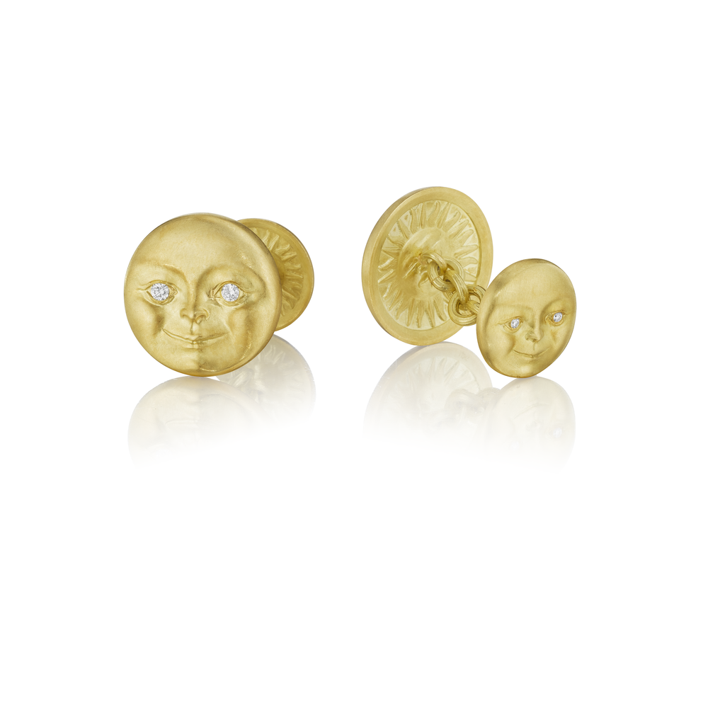 Moonface with Diamond Eyes Cufflinks