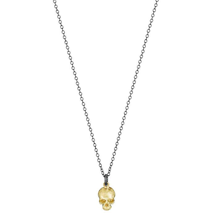 Gold Skull on Silver Necklace