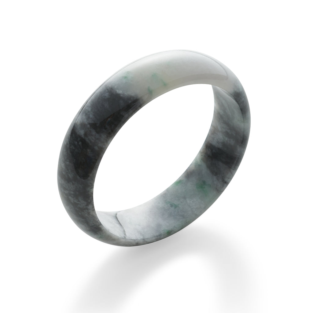 Mottled Gray with Green Jade Bangle