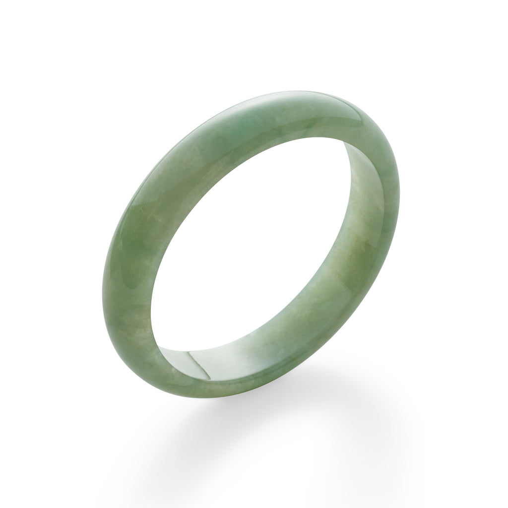 Mottled Pale Green Jade Bangle