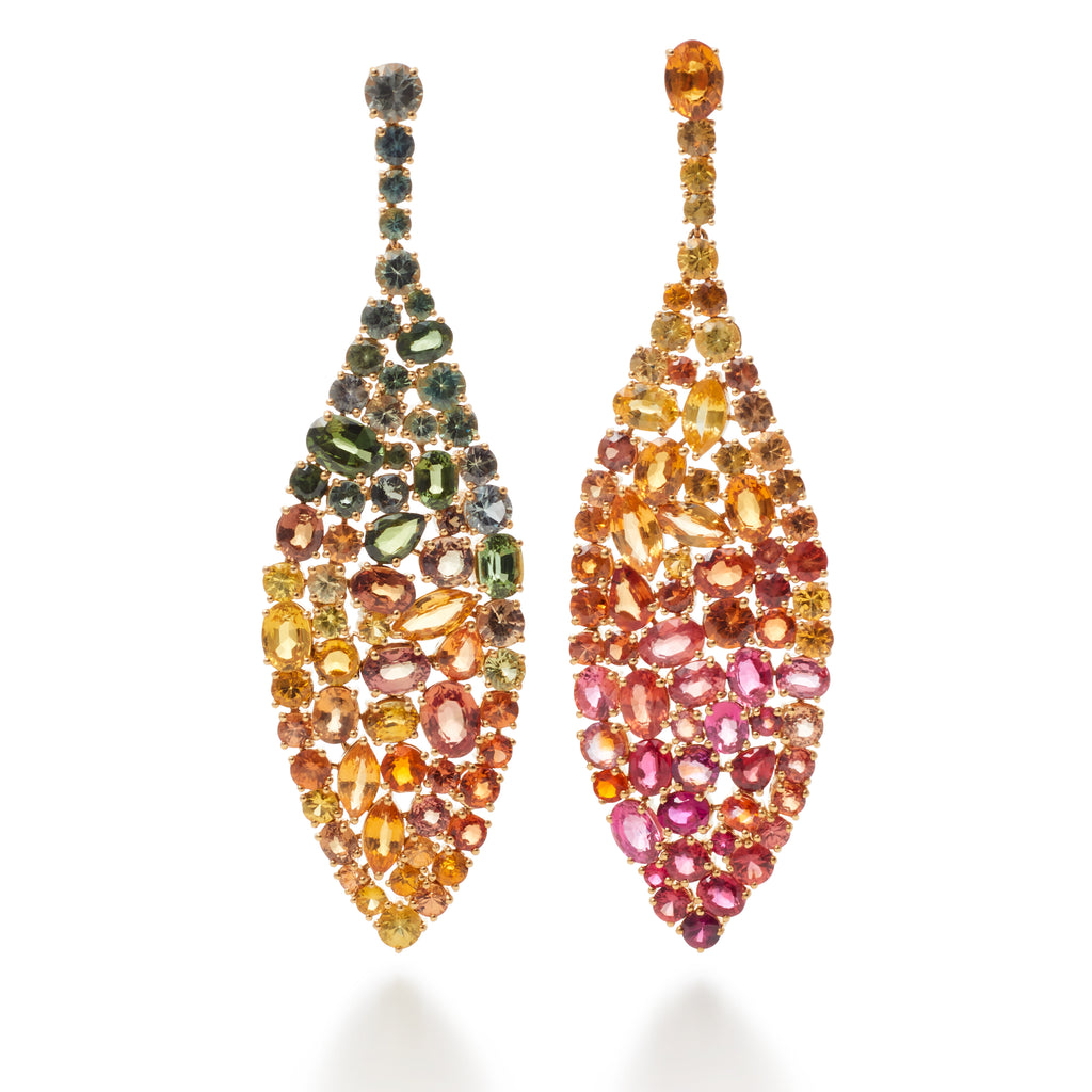 Multi-Gemstone Leaf Drop Earrings