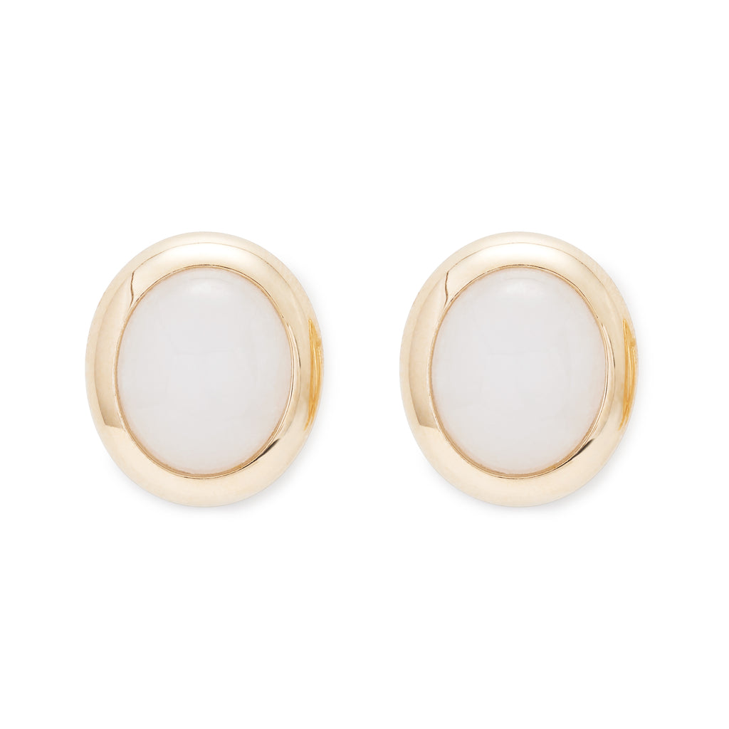 Small White Jade Cabochon Bezel-Set Earrings