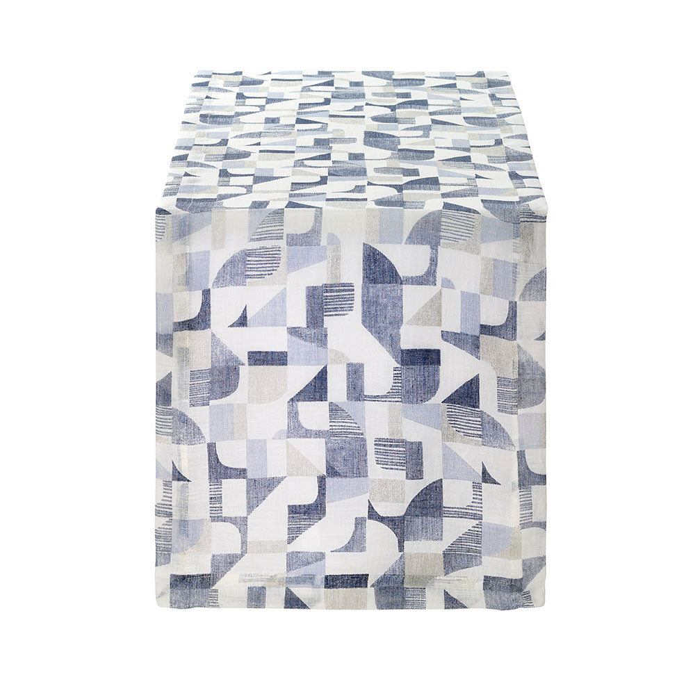 Geo Blue Table Runner