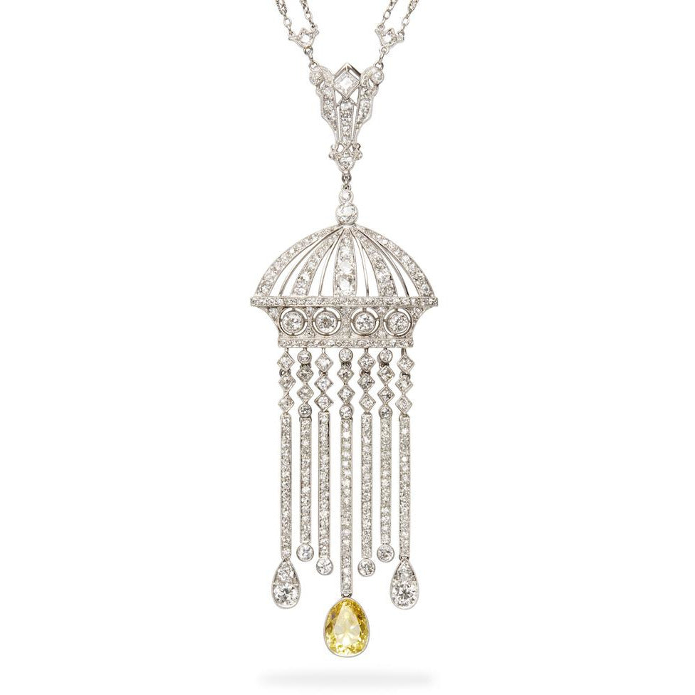 Estate Edwardian Diamond Tassel Necklace