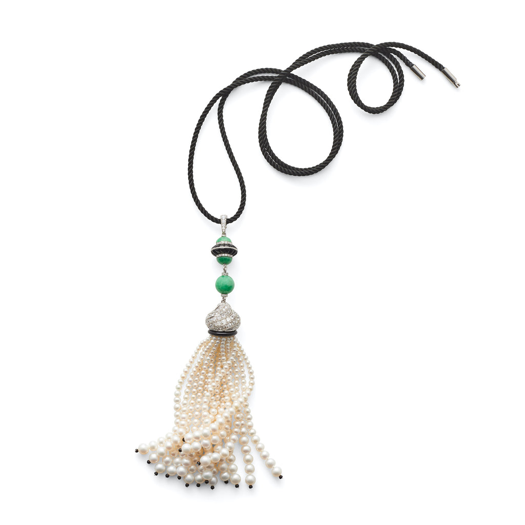 Akoya Pearl & Jade Tassel Necklace