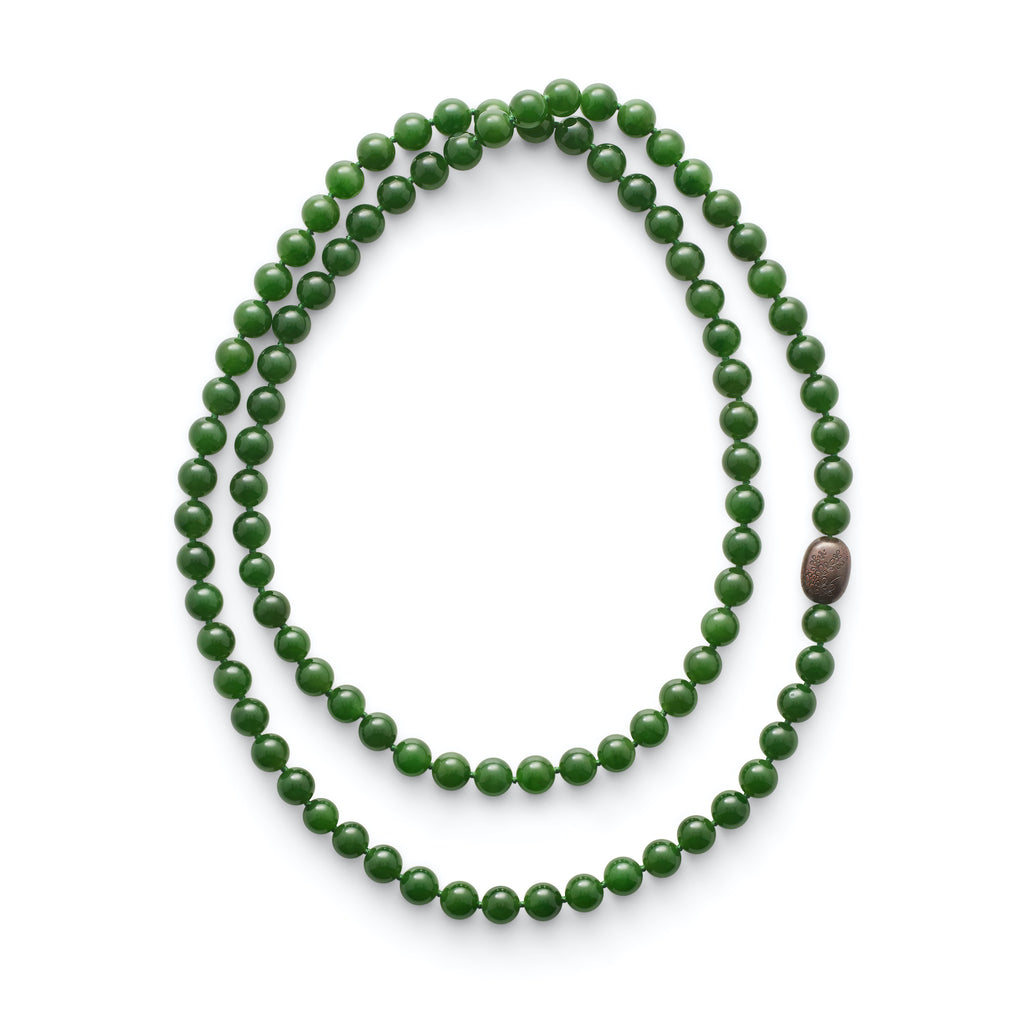 Fine Green Nephrite Jade & Antique Ojime Rope Necklace