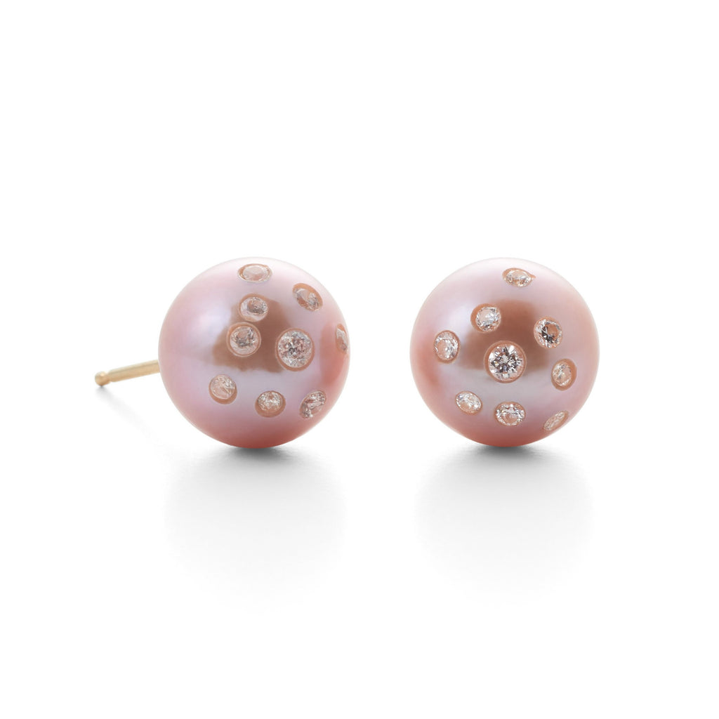 Pink Pearl & Diamond Earrings