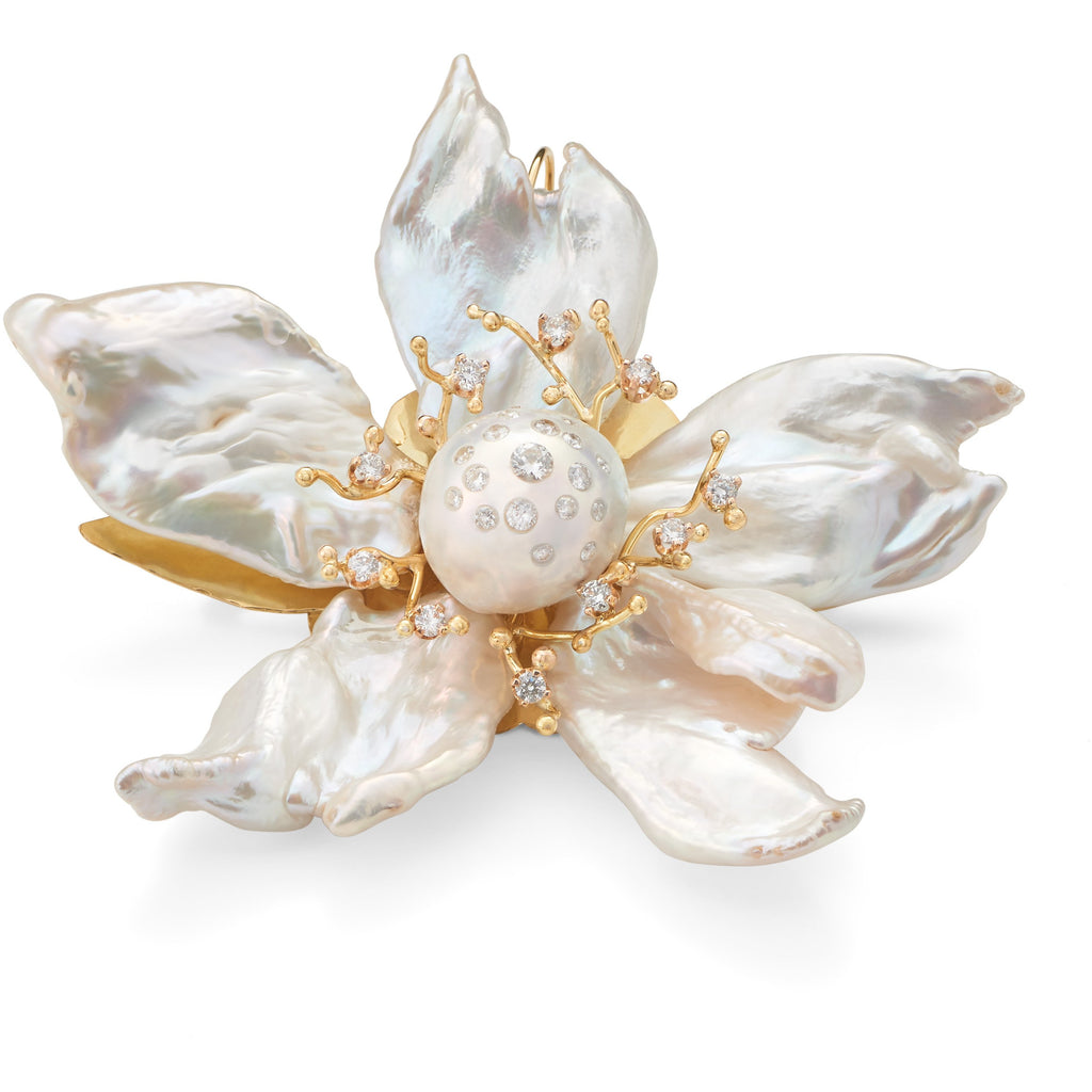 Pearl & Diamond Magnolia Brooch