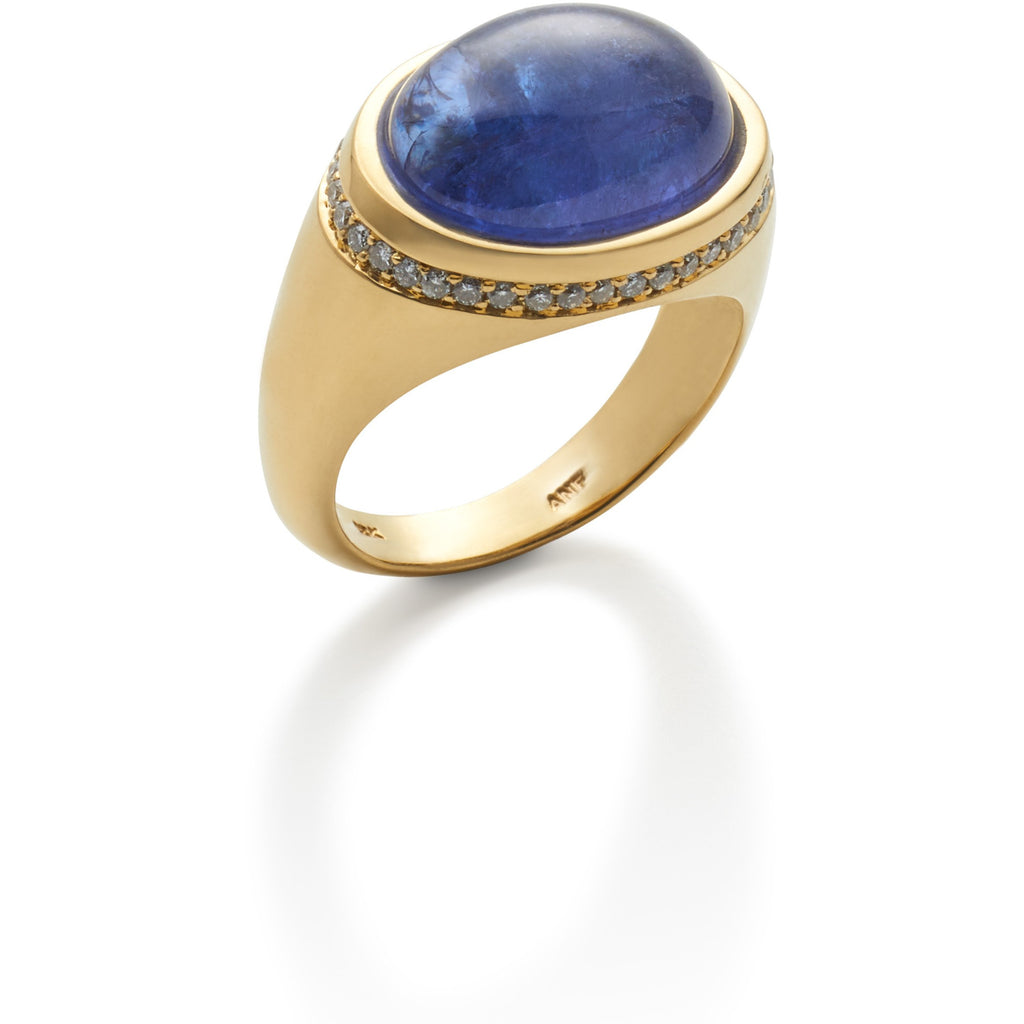 Tanzanite Cabochon & Diamond Ring