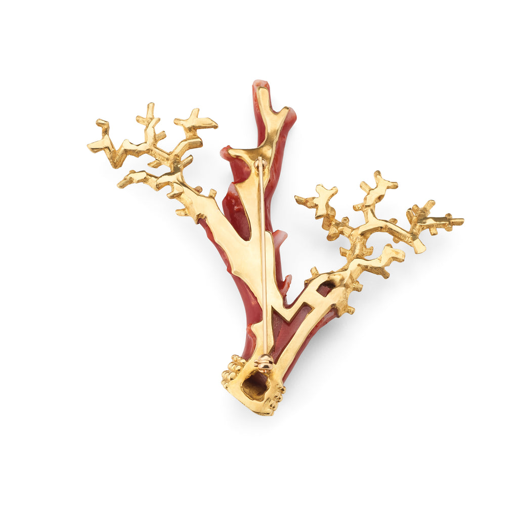 Vintage Coral Branch & Diamond Brooch
