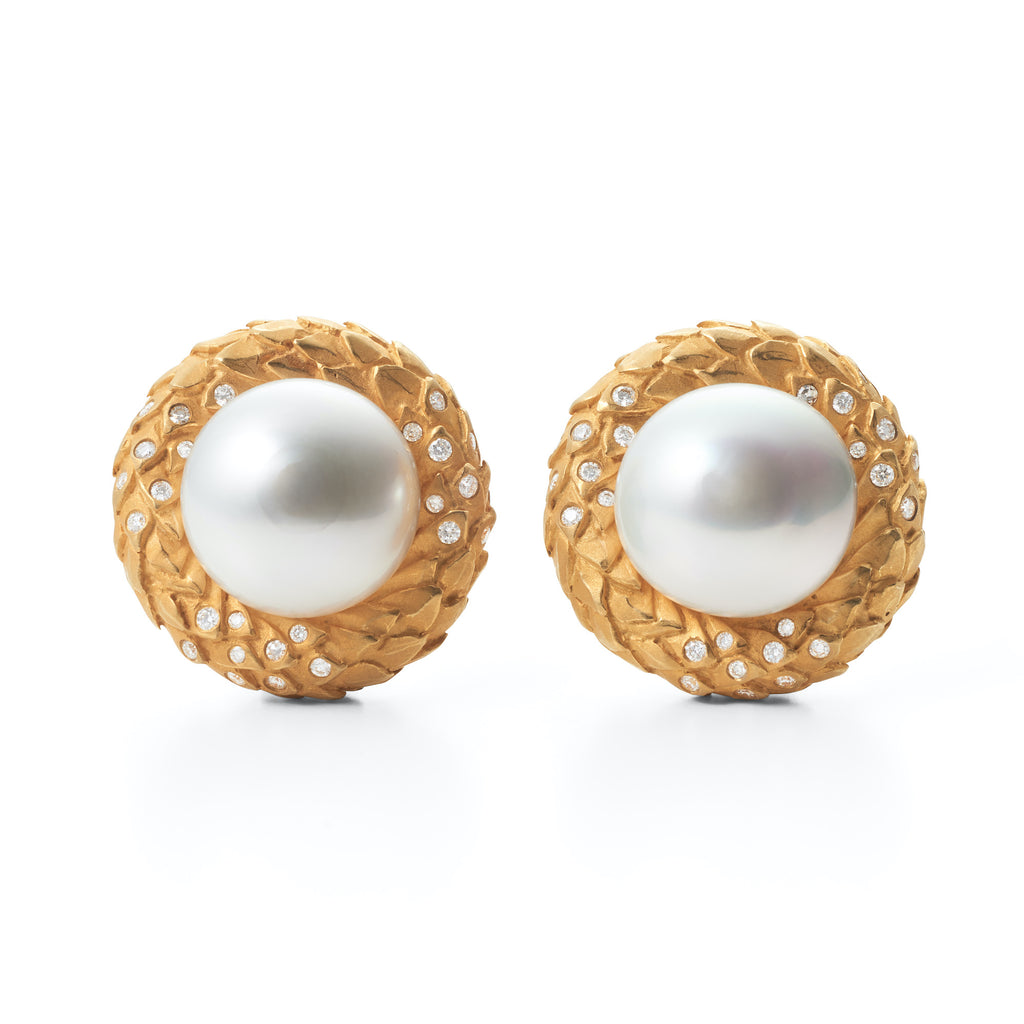 South Sea Pearl Acanthus Leaf Earrings