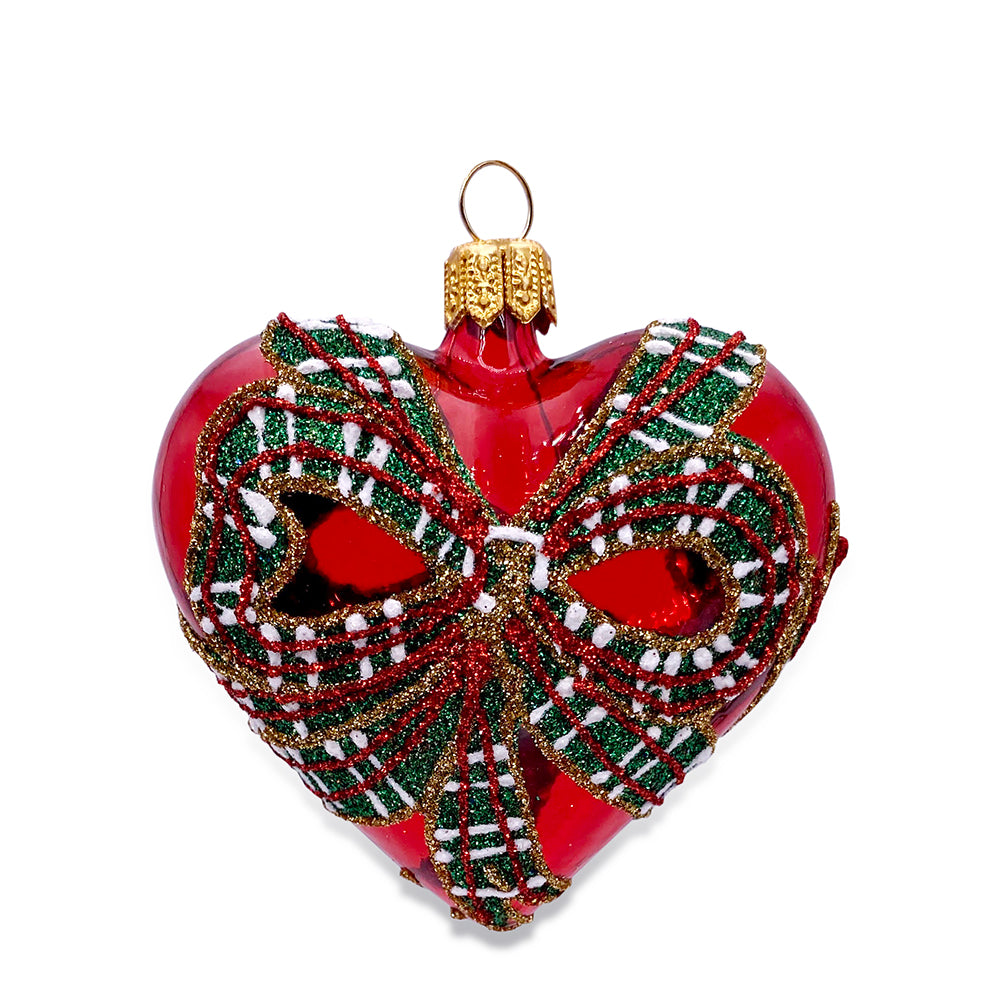 Small Red Heart with Bow Ornament