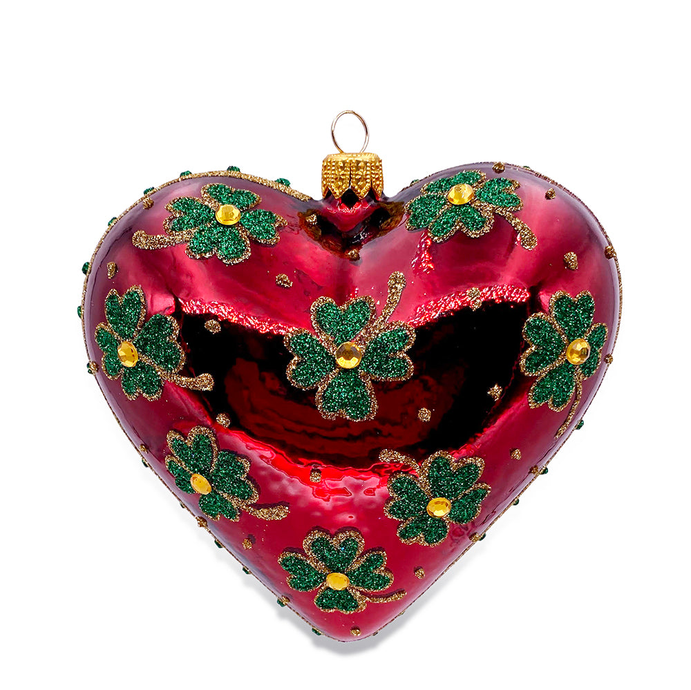 Four Leaf Clover Red Heart Ornament
