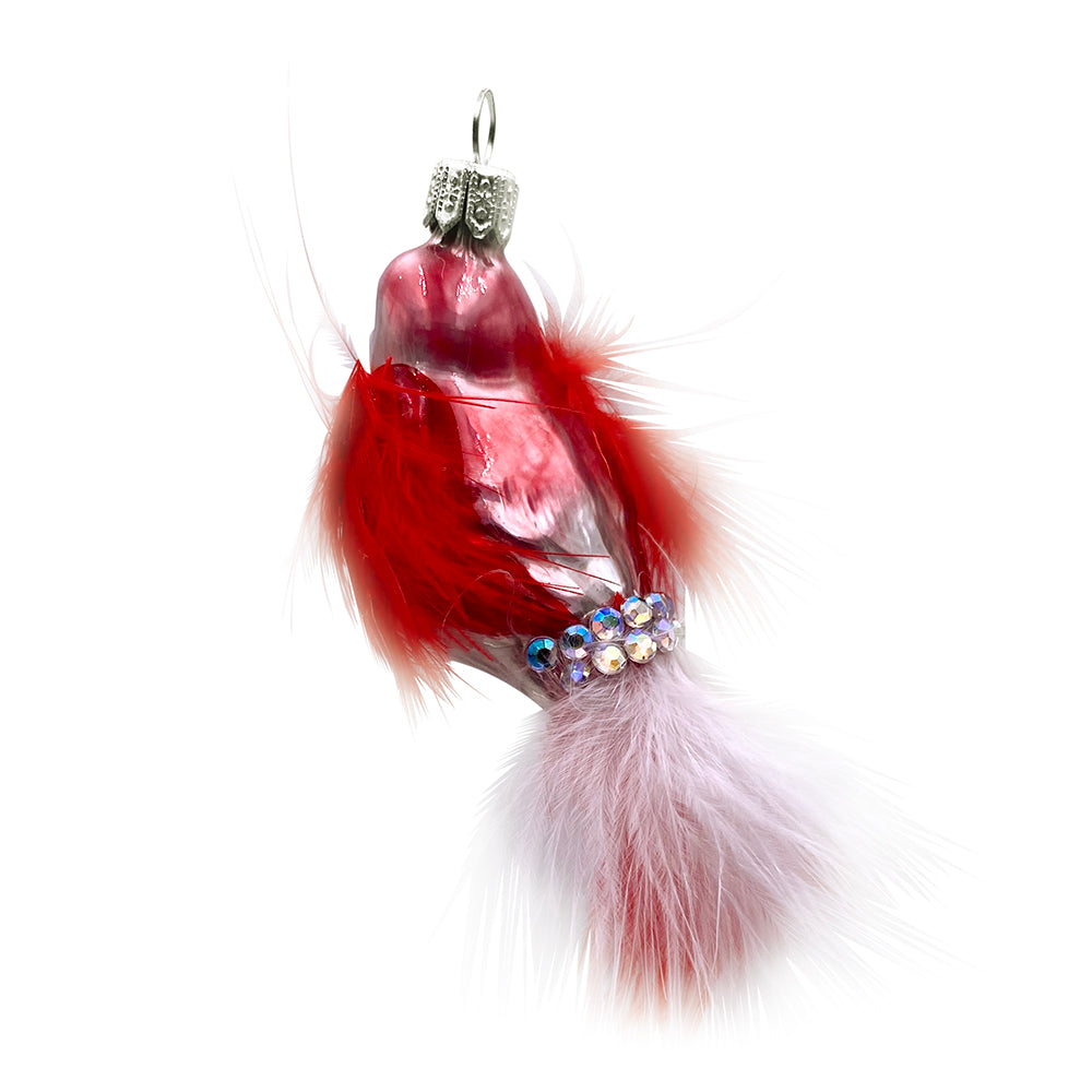 Red & White Feathered Bird Ornament