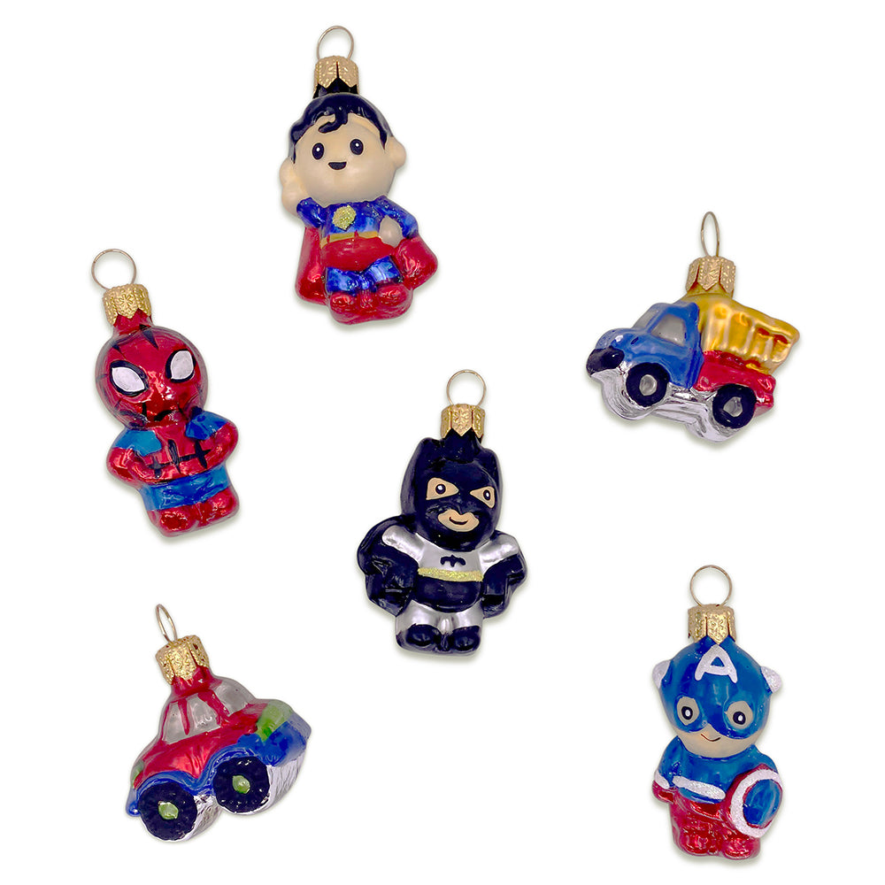 Superheroes & Cars Ornaments, Set of 6
