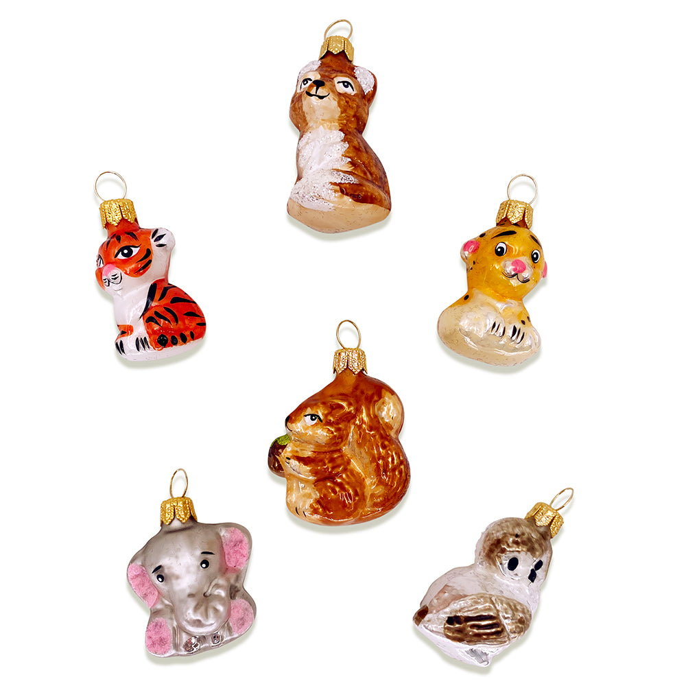 Zoo Animal Ornaments Set of 6