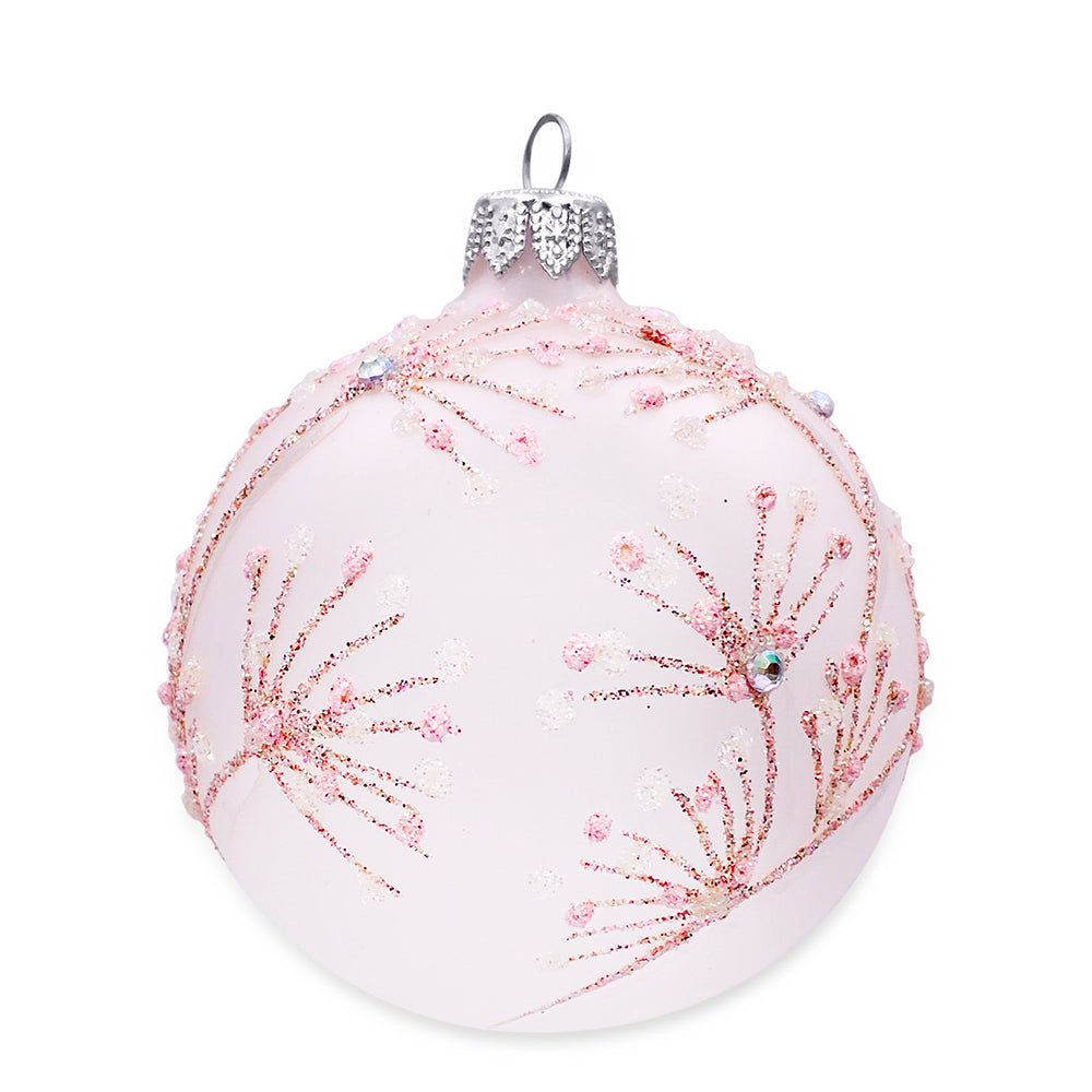 Frosted Pink with Glitter Ornaments, Set of 4