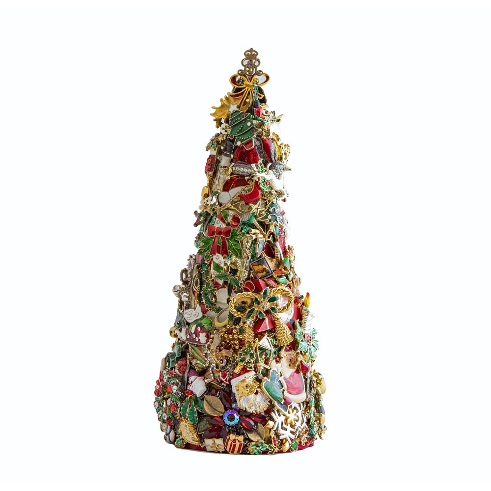 HOLIDAY TREE 12 INCH VINTAGE PINS AND BROOCHES