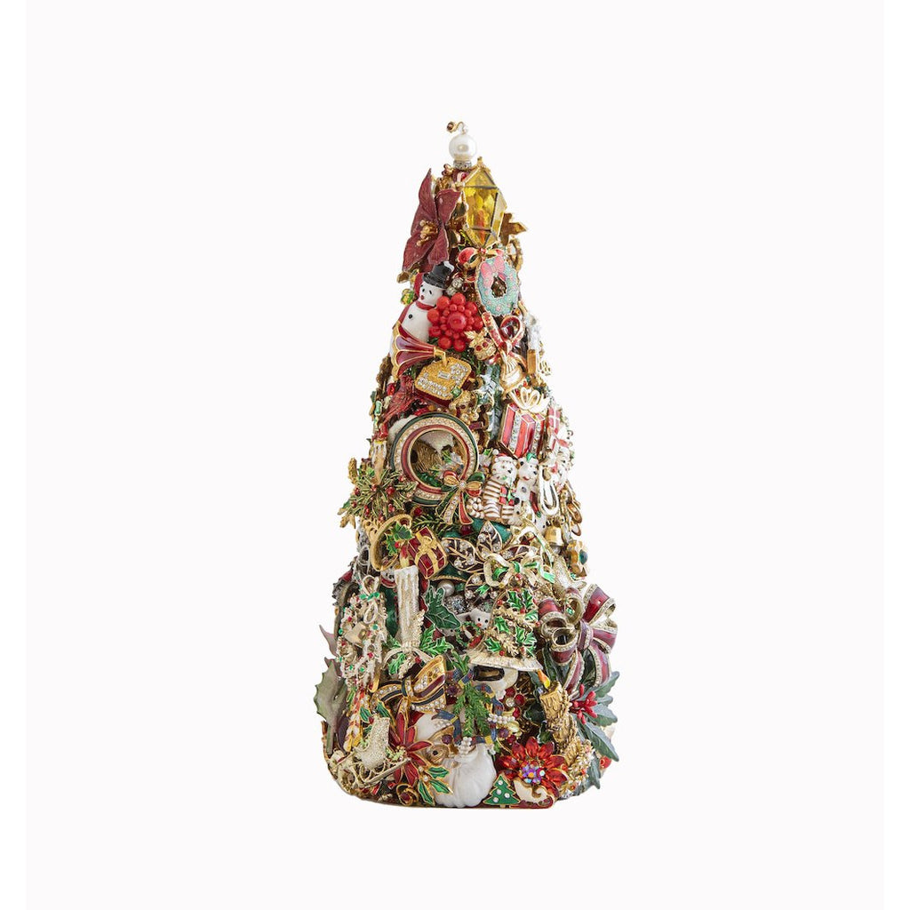 HOLIDAY TREE 12 IN PEARL AND CRYSTAL BEAD TOPPER