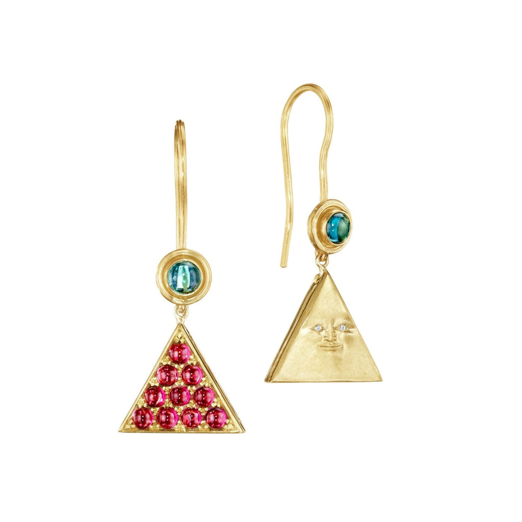 Pavé Garnet Hidden Triangleface Hanging Earrings