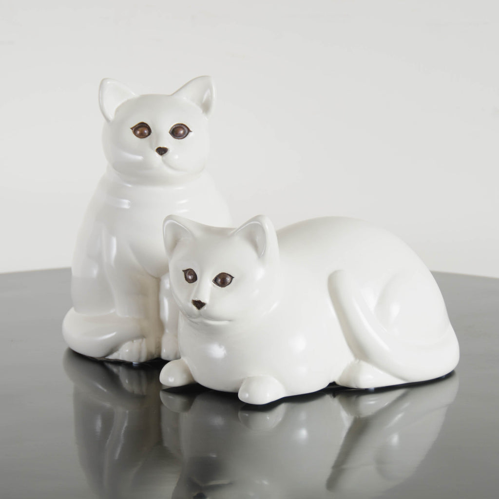 Cream Lacquer Cat Sculpture, Lying Down