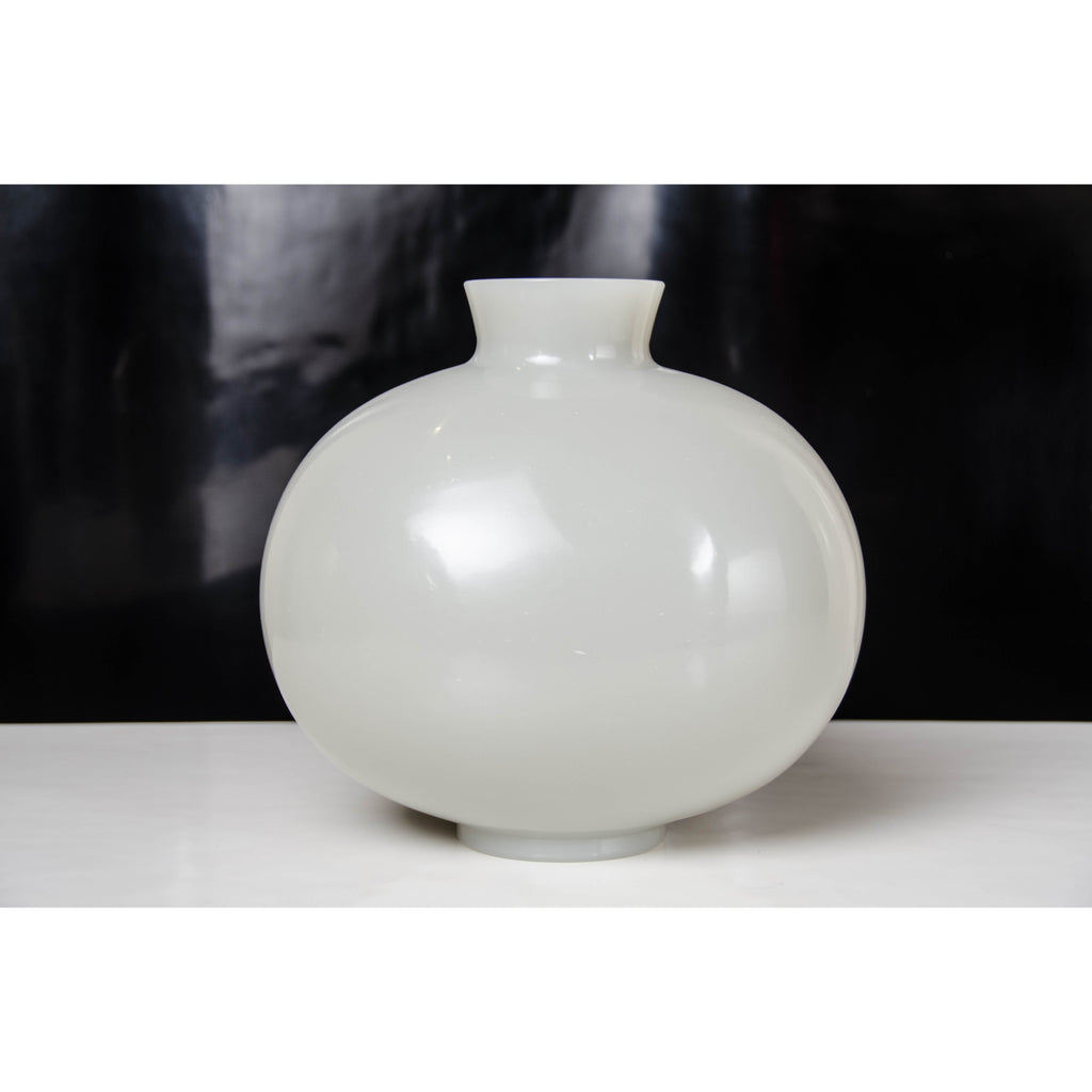 Robert Kuo Grey Peking Glass Cocoon Vase