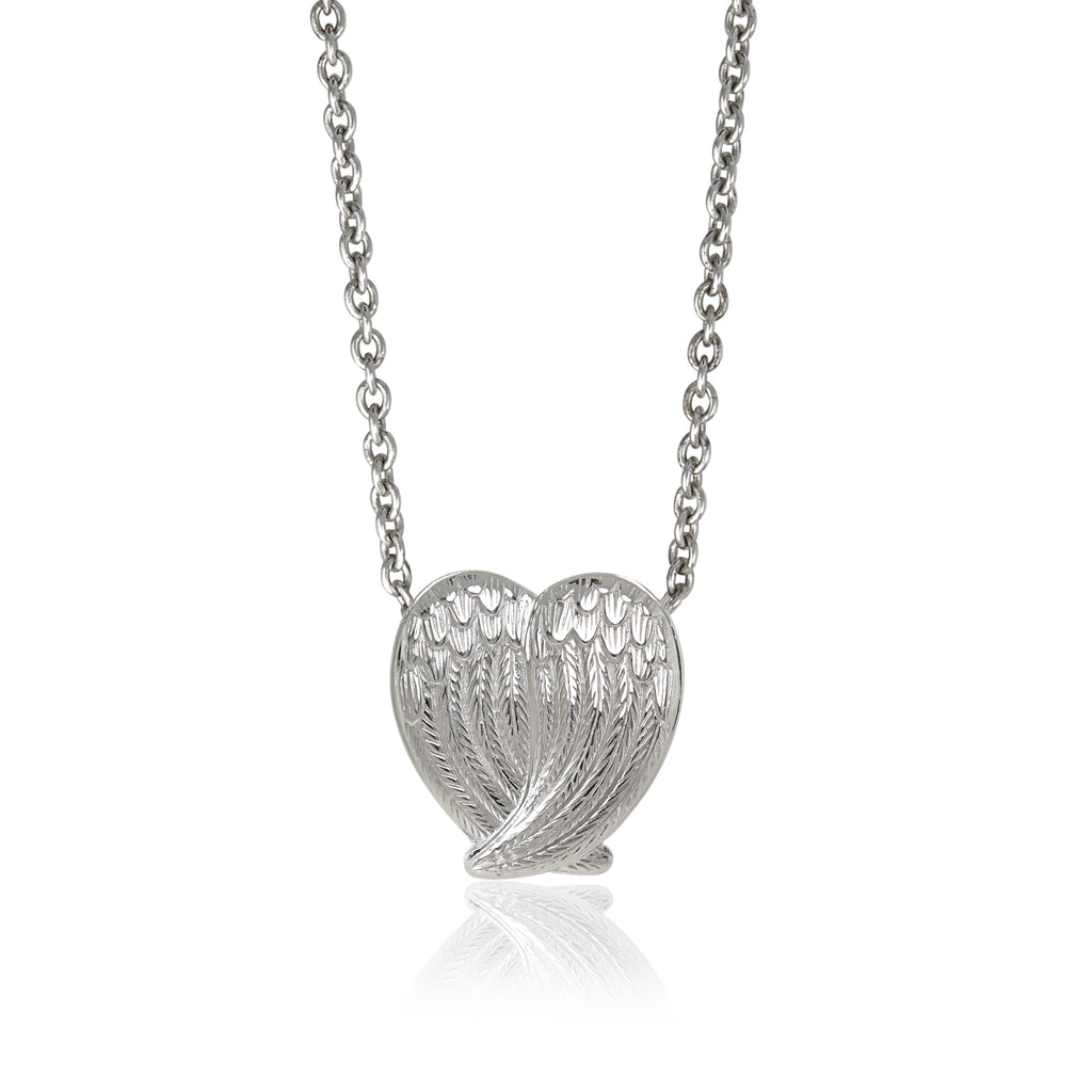 Double Wings Heart Pendant Necklace