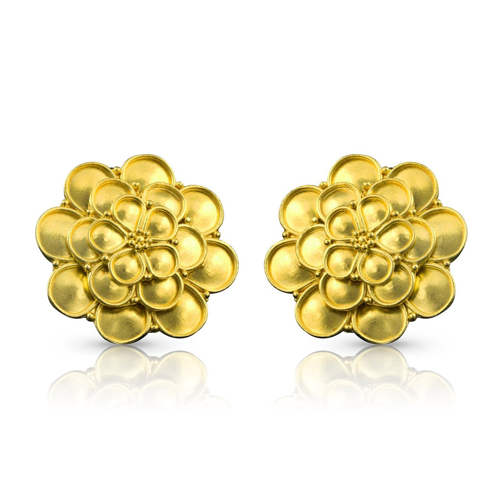 Gold Stacked Rosette Earrings