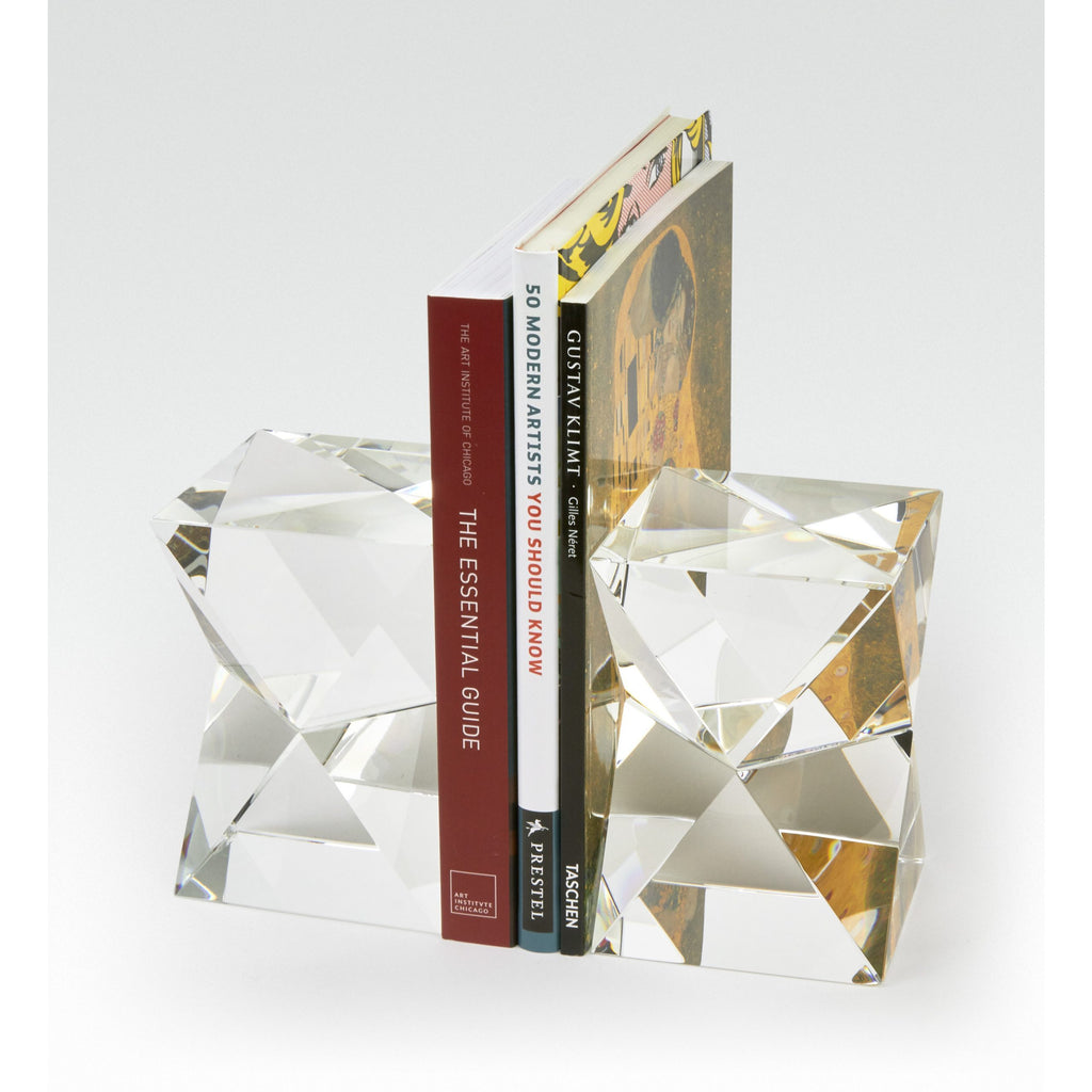 Diamond-Cut Crystal Bookends, Set of 2